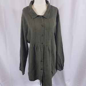 Flax 100% linen button down tunic